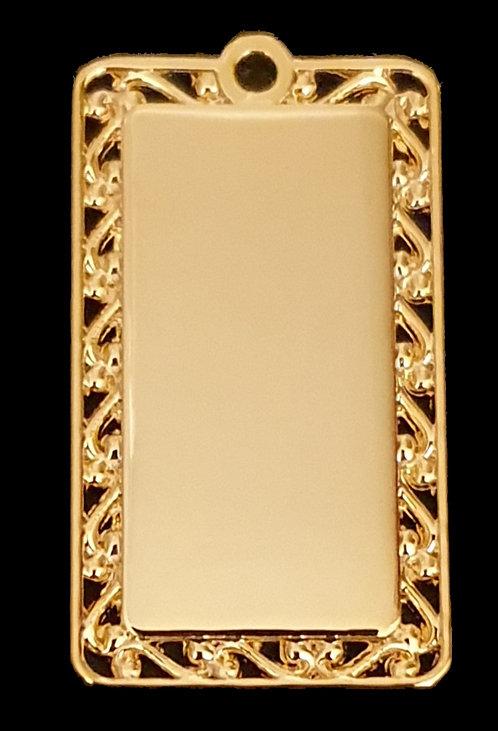 מלבן עם מסגרת מעוצבת - רודיום - צבע זהב