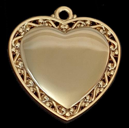 לב עם מסגרת מעוצבת - (בינוני) - רודיום - צבע זהב