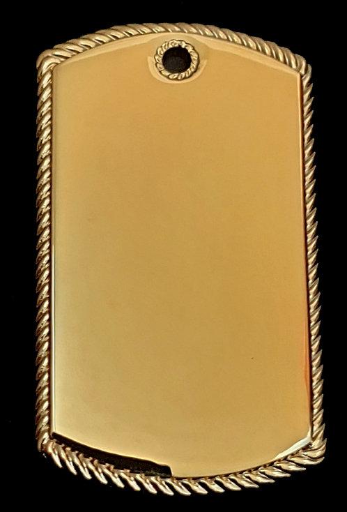 תליון בסגנון צבאי - עם מסגרת חבל (גדול) - רודיום - צבע זהב