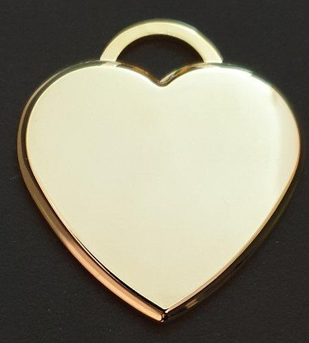 לב תלת ממדי - גדול - רודיום - צבע זהב