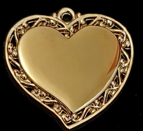 לב מחודד עם מסגרת מעוצבת - (בינונית) - רודיום - צבע זהב