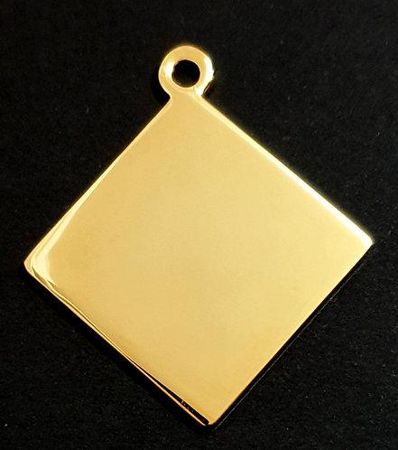 Diamond Shape Pendant - Rhodium - Gold Color