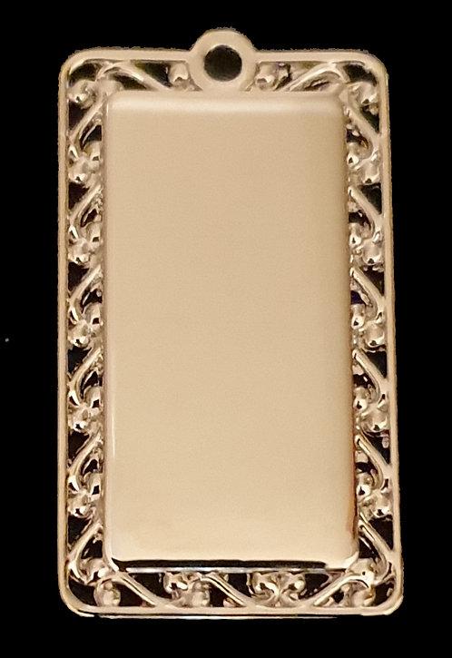 מלבן עם מסגרת מעוצבת - רודיום - צבע כסף