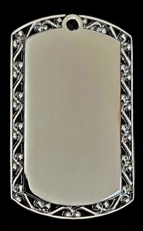 תליון בסגנון צבאי - עם מסגרת עיצובית (גדול) - רודיום