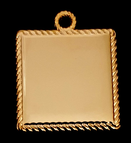 ריבוע עם מסגרת חבל-רודיום - צבע זהב