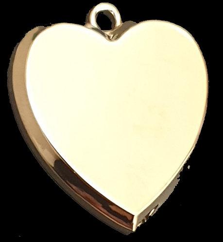 לב תלת מימדי - רודיום - צבע זהב
