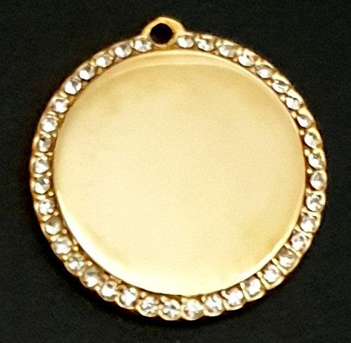 עגול עם מסגרת אבנים (קטנה) - רודיום - צבע זהב