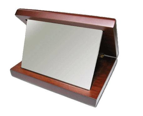 מסגרת - צבע כסף מתכת רדיום - עם מעמד מעץ