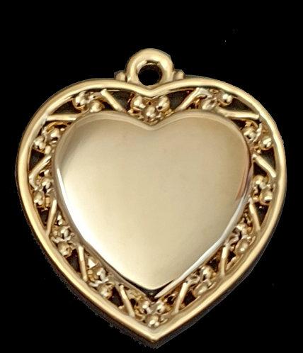 לב עם מסגרת מעוצבת - (קטן) - רודיום - צבע זהב