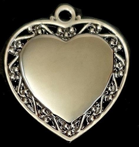 לב עם מסגרת מעוצבת- (קטן) - רודיום