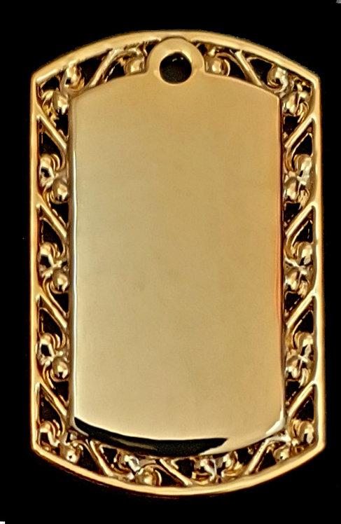 תליון בסגנון צבאי - עם מסגרת עיצובית (בינונית) - רודיום - צבע זהב