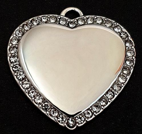 قلادة قلب - معدن الروديوم مع حجارة- لون فضي