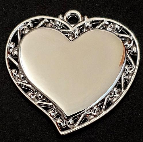 לב מחודד עם מסגרת מעוצבת - (בינוני) - רודיום