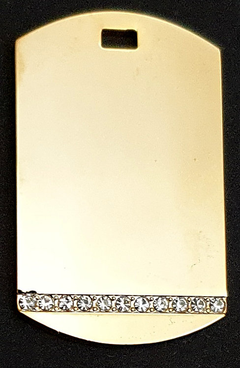 תליון בסגנון צבאי - מתכת רודיום - קו אבן - צבע זהב