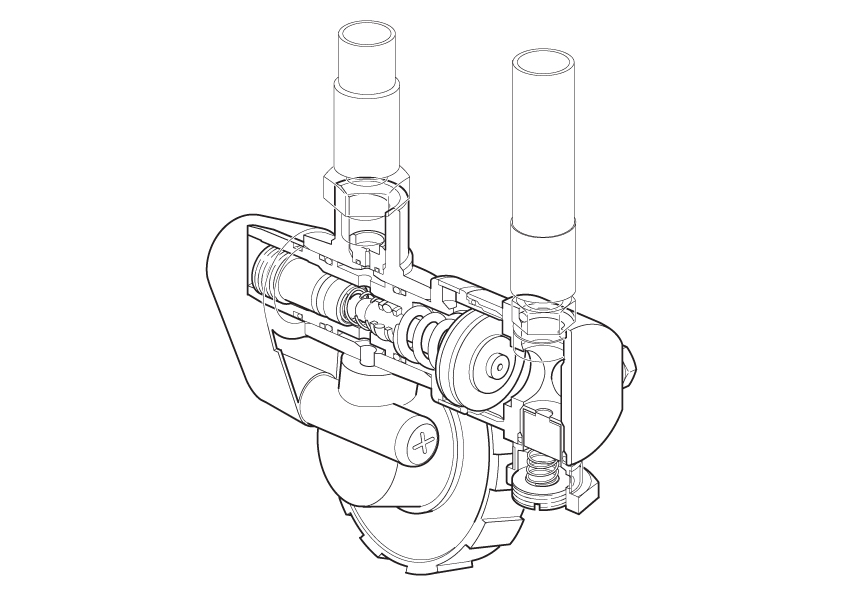 regulator cutaway line art