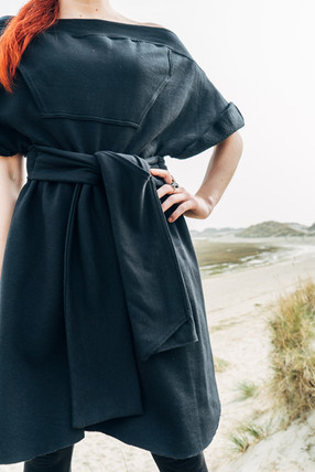 Upcycled hoode off shoulder dress