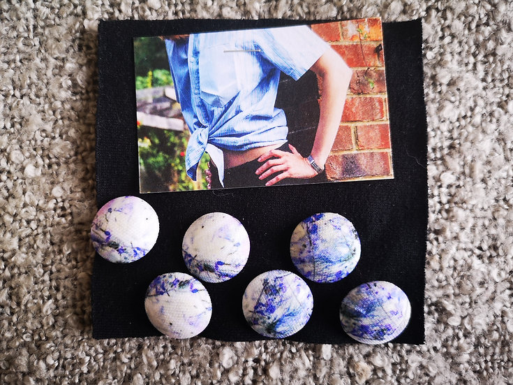 'Cool Blues' Buttons - set of 6