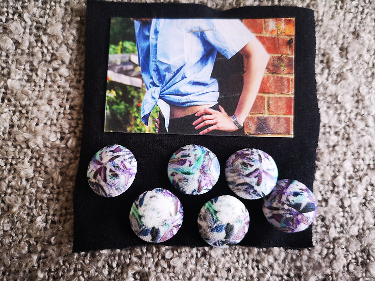 'Contemporary Florals' Buttons - set of 6