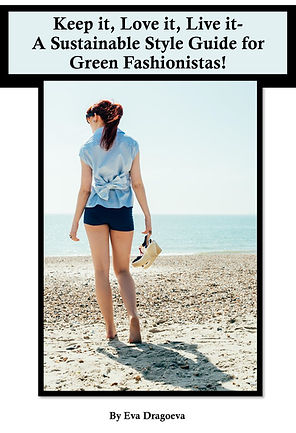 'Keep it, love it, live it - a sustainable style guide for green fashionistas' cover -Model on beach
