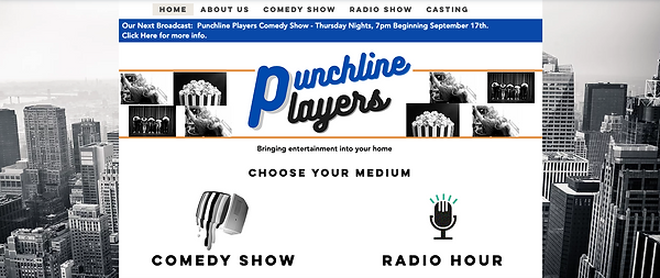 Punchline Players Home Page Screen shot.