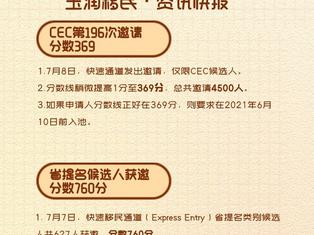 玉润移民一周快讯(7月12日)