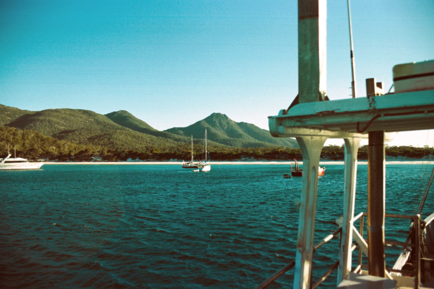 Boats at anchor in Wineglass Bay