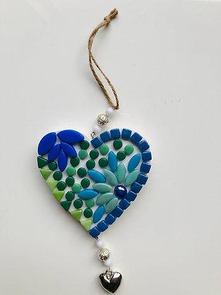 DIY hanger hart - groen blauw