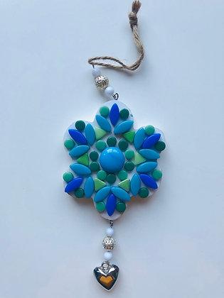 DIY hanger bloem - groen blauw