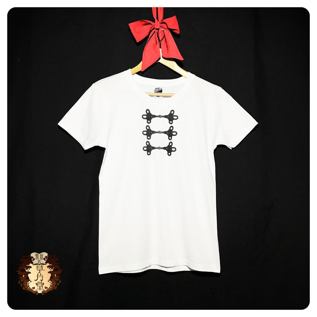 Tシャツ tシャツ シンプルロリィタ ロリータ チャイナボタン 飾り結び 和風 和柄 かわいい オシャレ カッコイイ イラスト トロンプルイユ レディース