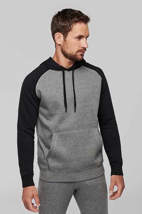 Sweat-shirt capuche bicolore
