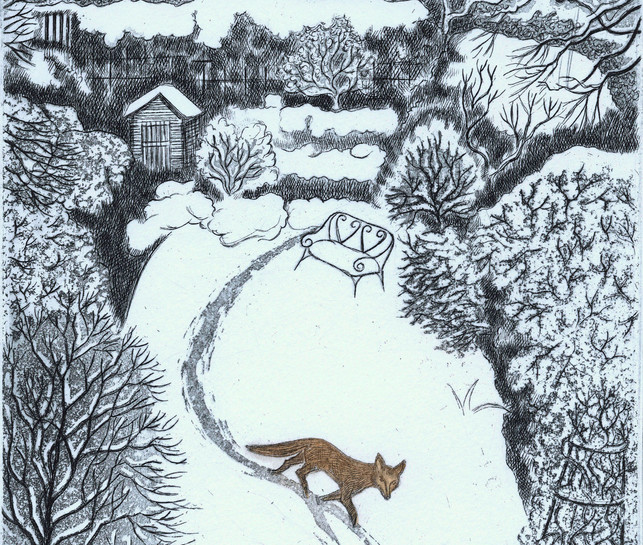 Elaine Marshall :-Fox in snow