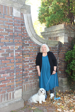 Jerilyn Dufresne, Author with he dog, Gus