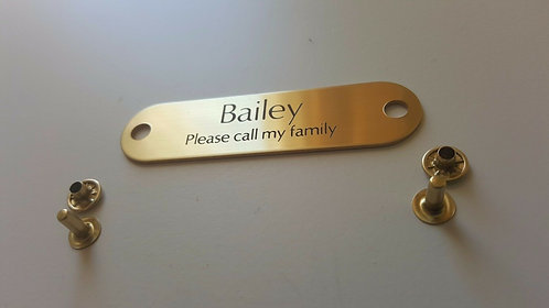 """Brass Collar Engravable Tag With Rivets (2-7/8"""" WIDTH X 3/4"""" HEIGHT)"""