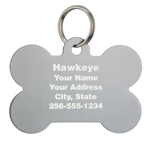 "Large Engravable Bone Tag (1-9/16"" WIDTH X 1-1/16"" HEIGHT)"