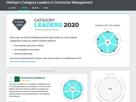 Contractor Compliance Named Category Leader for Contractor Management Software