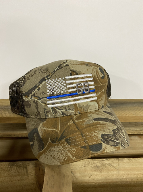 Camo '68' Blue Line Flag Hat