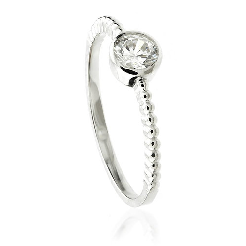 9ct White Gold Round Crystal Solitaire Stacking Ring