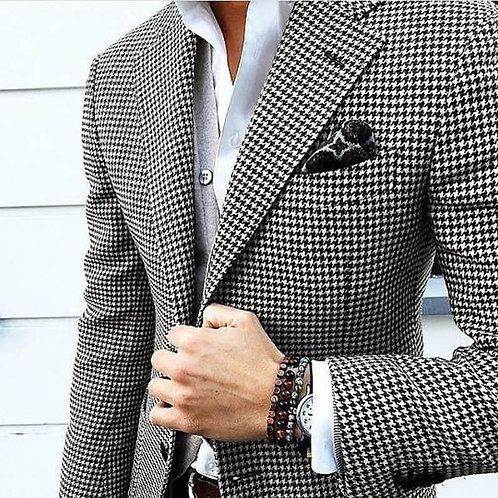 CustomSuits,Tailored Casual Men Suits Weave Hounds Tooth Check,Only One Jacket