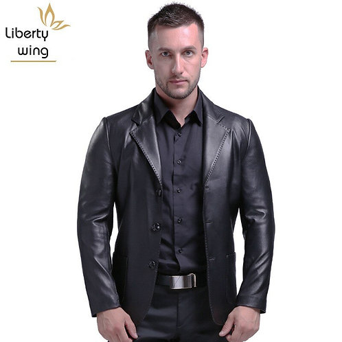 Jacket Business Men Office Work Single Breasted Suit Motorcycle Biker Coats