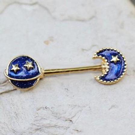 Gold Plated Blue Galaxy Stardust Nipple Bar
