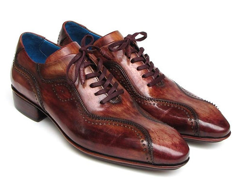 Handmade Lace-Up Casual Shoes for Men Brown Hand-Painted (ID#84654-BRW)