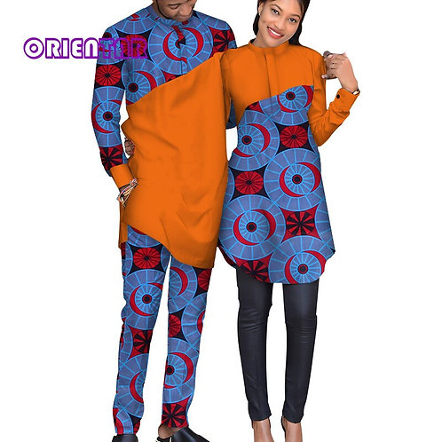 African Print Men Suit Women Dress Shirt African Couple Clothes WYQ124