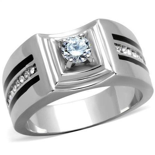 Men Stainless Steel Cubic Zirconia Rings TK1814