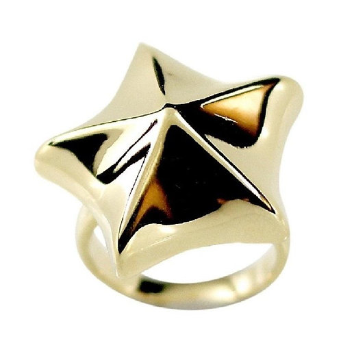 Solid 3D Nautical Star Gold Tone Ring