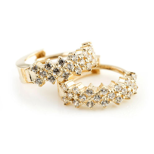 9ct Gold Crystal Pave Cross 11mm Huggie Earring