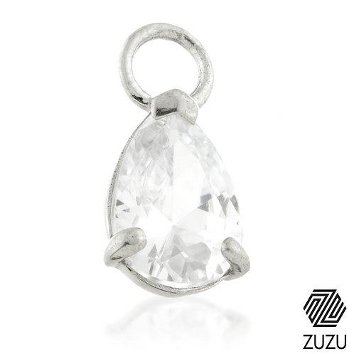 Silver CZ Pear-Shaped Charm for Plain Clicker Hoop
