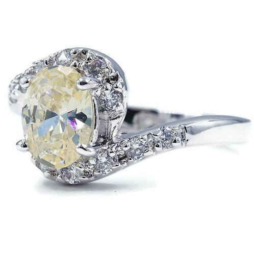 Stunning Offset Twist Oval Pale Yellow Stone Ring