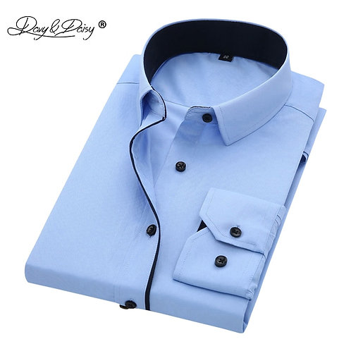 Twill Solid Causal  Formal Business Shirt Brand Man Dress Shirts DS085