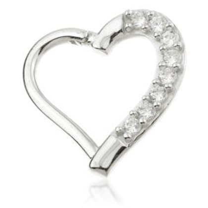 9ct White Gold Gem Hinge Heart Ring