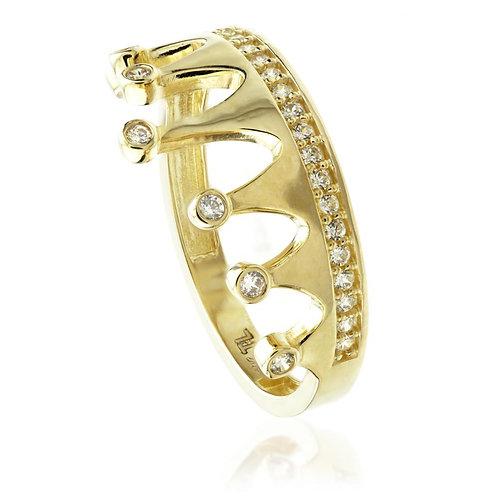 9ct Gold Crystal Princess Tiara Ring